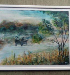 Картина (Утро на лесном озере.)
