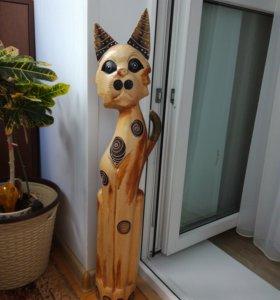 Кошка деревянная интерьерная