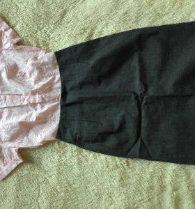 Комплект блуза+Юбка-карандаш для офиса 42 размер