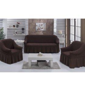 Чехол на трехместный диван и 2 кресла Коричневый