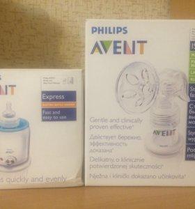 Молокоотсос и молоконагреватель «Avent»в комплекте