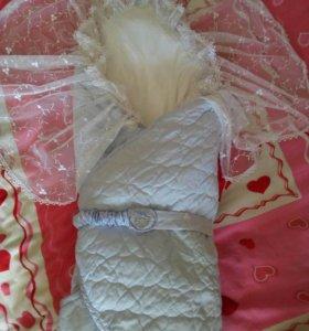 Одеяло- конверт на выписку унисекс