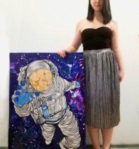 Интерьерная картина Космонавт 100х70см