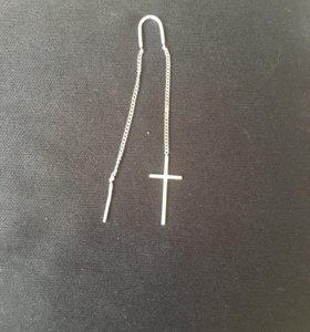 Серёжка серебряная