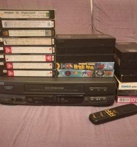 VHS-Видеоплеер JVC HR-P115 + VHS кассеты
