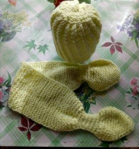 Комплект из шапочки и шарфика, на девочку 2-3х лет