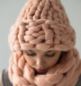 Мериносовые пледы, шапки, снуды, подушки,шарфы