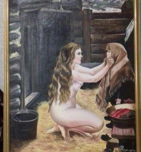 """Картина """"Весна в бане"""" репродукция 1977 года"""