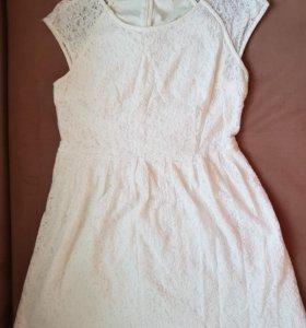 Летнее кружевное платье с подкладкой, размер Л