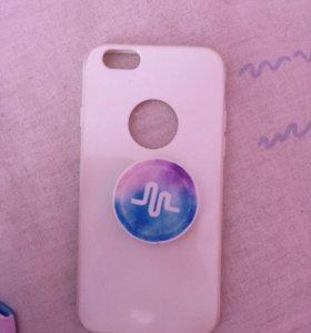 Чехол на Iphone 6-6s на нём поп сокет