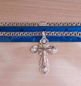 Мужская золотая цепочка с крестиком