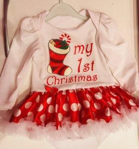 Новогоднее платье-боди