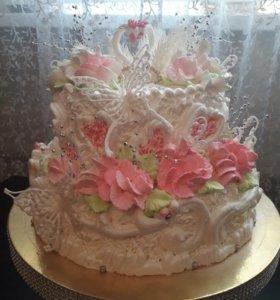 Свадебные торты  без мастики и караваи
