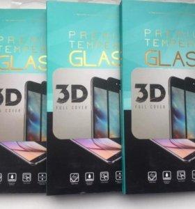 Защитное стекло на айфон 6/6s с белыми вставками.