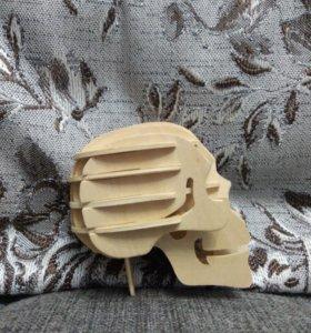 Череп, декорация для полок. Из дерева