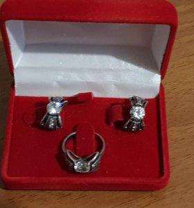 Набор из серебра. серьги и кольцо