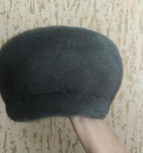 Женская норковая шапка, размер 58, голубо-серая