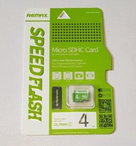 Карта памяти Remax micro SD (микро сд) 4 гб