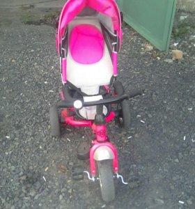 Детский велосипед для девочки, спинка регулируется