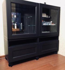 Икеа Бесто Тумба ТВ и Навесной шкаф (зеркальный)