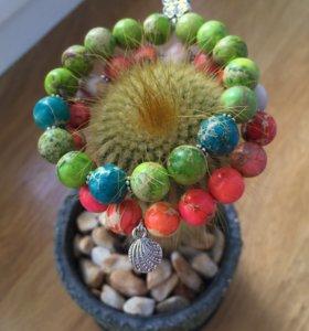 Комплект браслетов из камней (10 мм) с фурнитурой