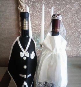 Свадебные бокалы и украшения на бутылки