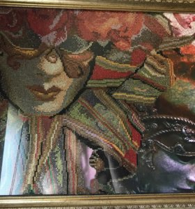 Картина венецианская маска стразами