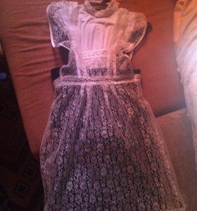 Школьное платье, фартук и блузка
