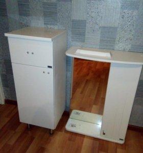 Шкаф с зеркалом и тумба для ванной