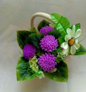 Букет ароматных цветов из мыла