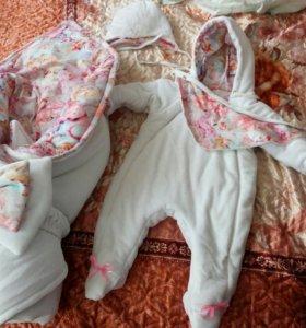 Зимний комплект на выписку для девочки.