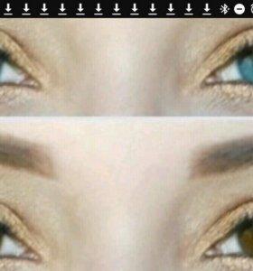 Линзы голубые перекрывают карие глаза
