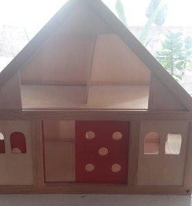 Детский домик с мебелю и куклами