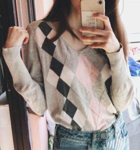 (M)Пуловер с ромбиками