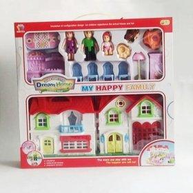 Игровой домик для кукол, с фигурками и мебелью