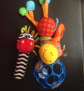 Погремушки подвеска жираф, зебра и мяч