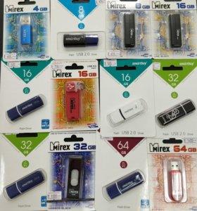 Флешки разные USB от 4 до 64Gb