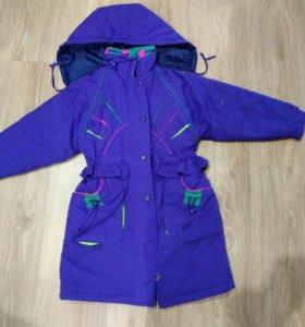 пальто для девочки 5-6лет, б/у, утепленное