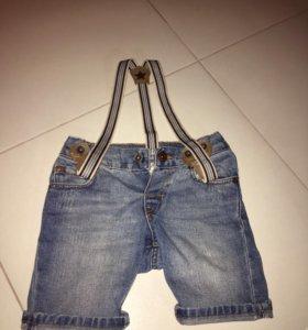 Шорты джинсовые на подтяжках