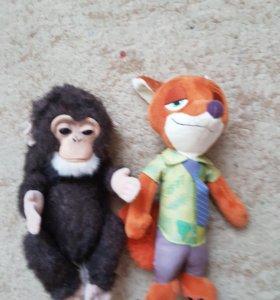 Интерактивная обезьянка и лис