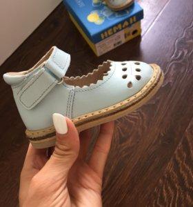 Кожаные Босоножки(туфли) НЕМАН 💧светло голубые
