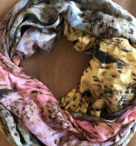 Воздушный платок, цвет градиент, натуральный шелк