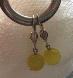 Серьги бижутерия с жёлтым стеклом