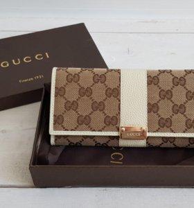Кошелёк портмоне Гучи Gucci бежевый логотипы