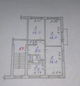 Квартира, 3 комнаты, 70.7 м²
