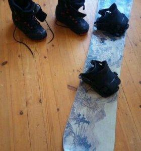 Сноуборд, ботинки, крепление