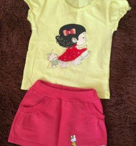 Комплект, юбка и футболка