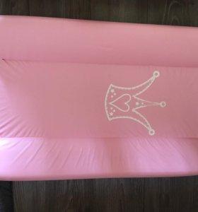 Пеленальная доска Розовая с короной