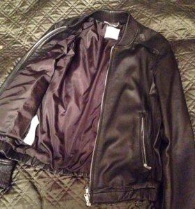 Кожаная куртка бомбер из натур. кожи MANGO MAN