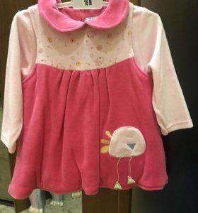 Платье для девочки 18 месяцев велюровое новое